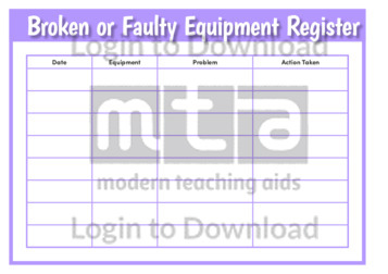 Broken or Faulty Equipment Register