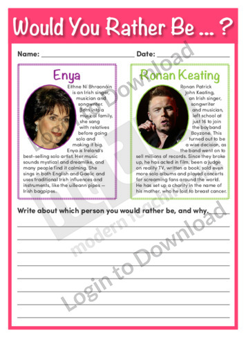 Would You Rather Be…? Enya or Ronan Keating
