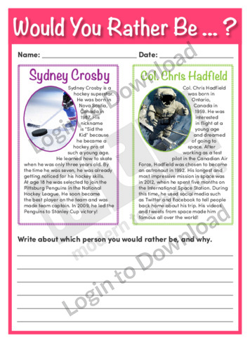 Would You Rather Be…? Sydney Crosby or Col. Chris Hadfield