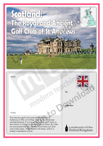 Scotland: The Royal and Ancient Golf Club of St Andrews