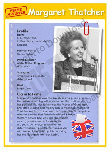 Prime Minister: Margaret Thatcher