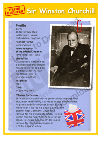 Prime Minister: Sir Winston Churchill