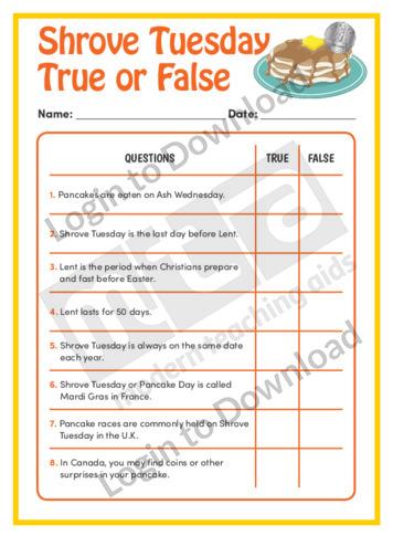 Shrove Tuesday True or False