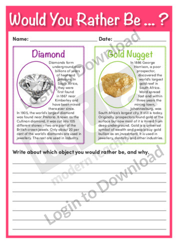 Would You Rather Be…? Diamond or Gold Nugget