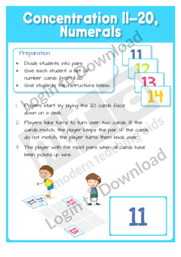 Concentration 11-20, Numerals