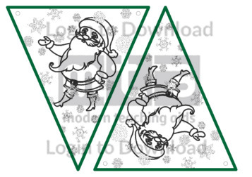 Christmas Bunting: Santa (B&W)