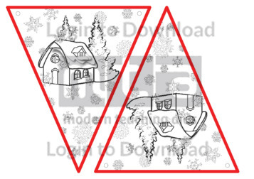 Christmas Bunting: Snow Cottage (B&W)