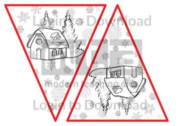 Christmas Bunting: Snow Cottage (B&W)