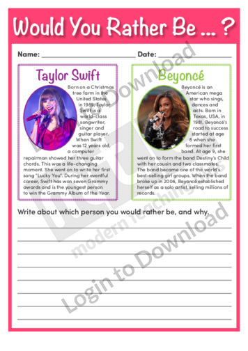Would You Rather Be Taylor Swift or Beyoncé?
