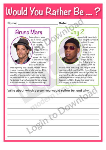 Would You Rather Be Bruno Mars or Jay Z?