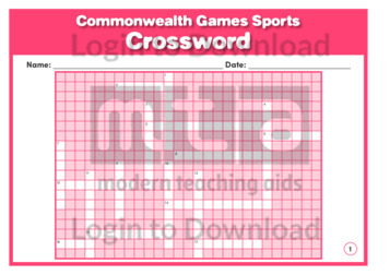 Commonwealth Games Sports Crossword