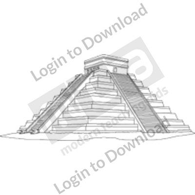 Aztec pyramid B&W