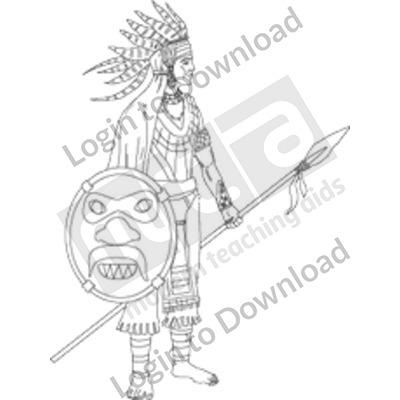 Aztec warrior B&W