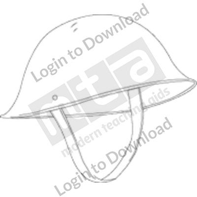 British military helmet B&W
