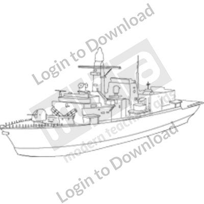 Military ship B&W