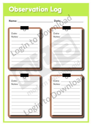 Observation Log Graphic Organiser