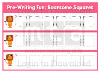 Pre-Writing Fun: Roarsome Squares